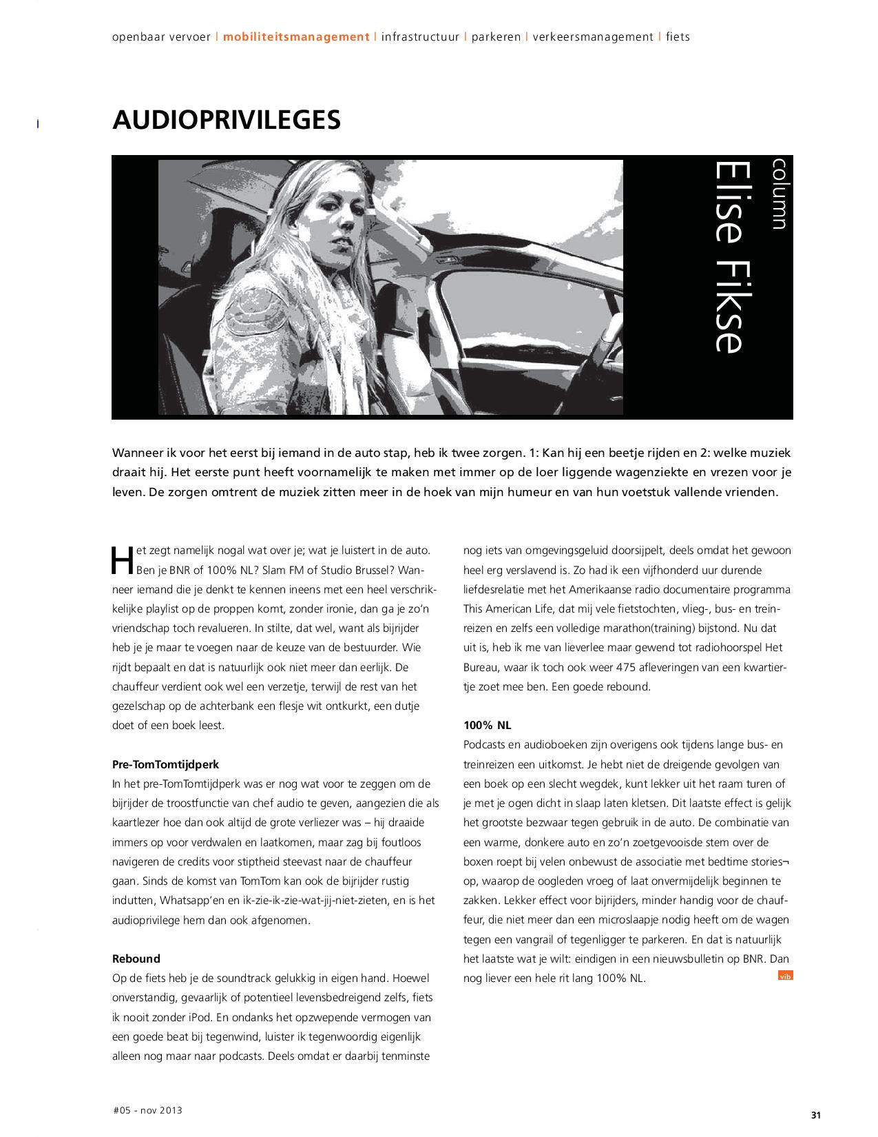 Column Verkeer in Beeld 2013 In de auto, trein, bus of op de fiets: welke muziek luister je?