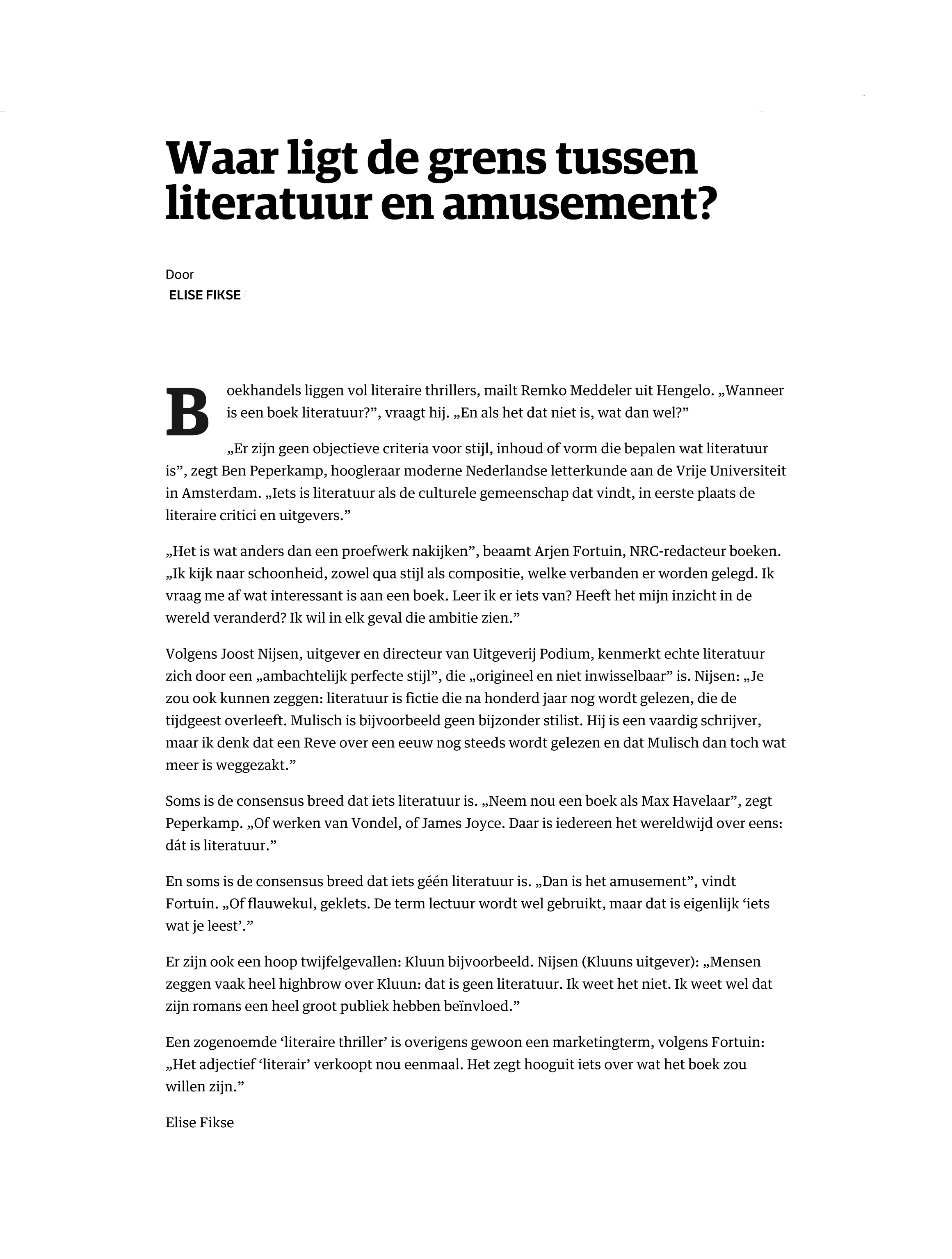 Next Question - Literatuur of Amusement